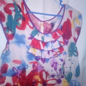 Little Yellow Button Watercolor Cap Sleeve Top L